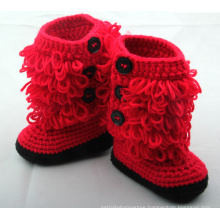 Baby Girl Newborn Handmade Crochet Knit Red Booties Shoes