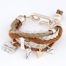 Moda adolescente pulseiras de couro havaiano