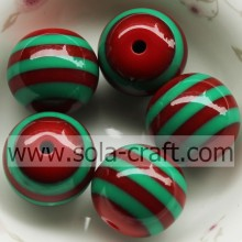 18MM*20MM Red Green Striped Round Beads Resin Beads