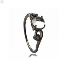 Женщины Последняя обручальное кольцо настроения конструкции черный медь ювелирные изделия