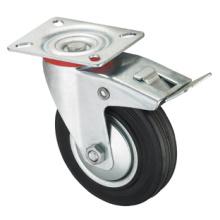 Rodízio série médio Duty - giratório W / freio - borracha preta industrial (rolamento de rolo)