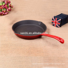 Enamel cast iron paella pan with long handle