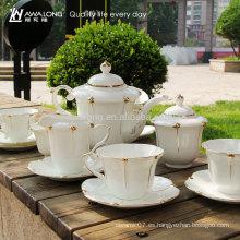 Caja de regalo de lujo del diseño que empaqueta los sistemas cerámicos del té del café de China del hueso 15pcs