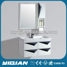 Hangzhou Bathroom Modern Furniture Simple Design Wall Mounted Makeup PVC Bathroom Cabinet Vanity
