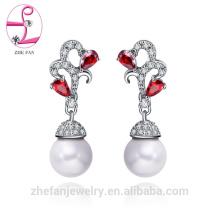 Sterling Silber 925 vergoldete Spiral Ohrringe mit Perle