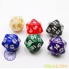 Bescon D20 Spindown Dice 22MM, Assorted Marble Colors 6pcs Set