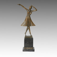 Dancer Statue Lady Milo Bronze Sculpture, D. H. Chiparus TPE-190