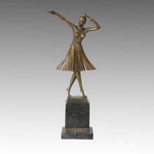 Статуя танцовщицы Бронзовая скульптура леди Мило, DH Chiparus TPE-190