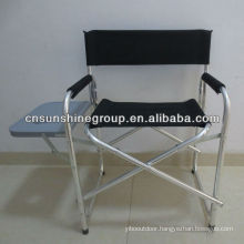 Folding aluminum director chair with side pocket and table