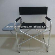 Cadeira de diretor de alumínio com bolso lateral e tabela de dobramento