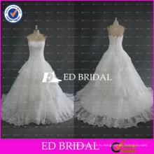 ЭД Свадебные высокое качество без бретелек кружева аппликация из органзы бальное платье свадебные платья
