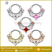 316L chirurgischer Edelstahl Silber Gold Strass Tribal Design Septum Ring Clicker Piercing
