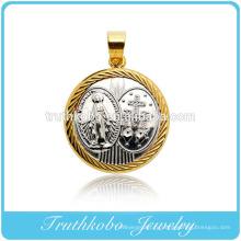 Заказ дизайн-литье круглой формы из чистого Матерь и крест кулон из нержавеющей стали ювелирные изделия значимые кулон ожерелье