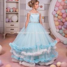 Nuevos apliques de encaje de la llegada con gradas vestido de bola de la flor del vestido de bola de la muchacha de la competencia de vestido de lujo de la flor del hombro