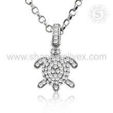 Brighness Fashion Jewelry Turtle White CZ Pendant 925 Silver Jewelry Exporter Indian Silver Jewelry