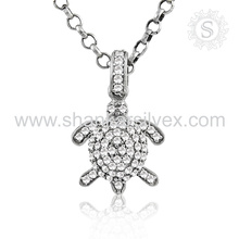 Brighness Fashion Jewelry Turtle White CZ Pendant 925 Silver Jewelry Exportador Indian Silver Jewelry
