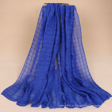 Novo estilo de moda Dobrar hijab cachecol dubai algodão plissado xadrez hijab cachecol