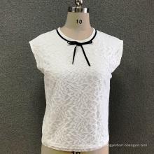 Damen Polyester Weißes Spitzenoberteil