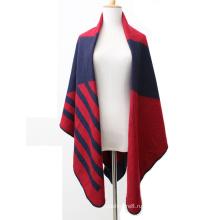 Женские полосатые трикотажные кашемир как палантин обертывания шарф пончо шаль (SP286)