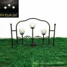 Garden Fence Craft with 3 Glass Ball Solar Light Metal Decoration
