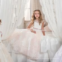 2017 última venta al por mayor pequeña niña tul bordado maxi organza vestidos de fiesta una línea de vestido de fiesta del bebé para el cumpleaños