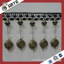 2015 New Cheap Wholesale Black Beaded Fringe Used for Curtain Accessories,Match Drapery Fabric