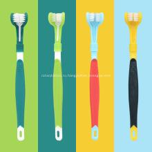 Трехголовая зубная щетка для ухода за полостью рта