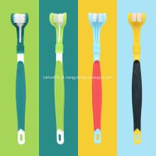 Produtos de higiene bucal para escovas de dentes com três cabeças para animais de estimação