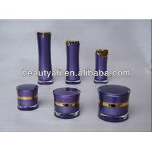 Ronda de cintura de doble pared de acrílico cosméticos jarra