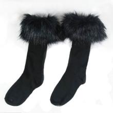 Frauen Baumwollstrumpf Socken mit Pelz (WA054)