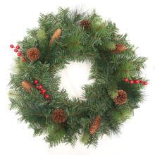 Décoration extérieure de Noël de couronne de pommes de pin