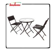 conjunto de comedor de playa de mimbre, muebles de jardín de ratán para la venta, conjunto de silla plegable de mimbre de acero