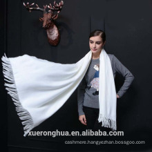 Ivory solid cashmere scarf shawl China Mongolian Origin