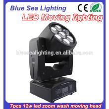 7pcs 12w RGBW 4in1 LED waschen bewegliches Hauptlicht mit dem Zoom