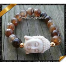 Porcelana Buddha rebordea las pulseras para la fabricación al por mayor de la joyería de DIY (CB074)