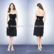 Simple Black Knee-length Bridesmaid Dress 2014 Sweetheart With Asymmetrical Pleats Short Chiffon Sheath Prom Party Gown NB0742