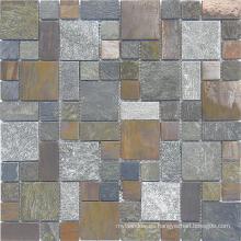 Mosaico de la pizarra oxidada, azulejo de mosaico, azulejo de mármol blanco, mosaico de cristal
