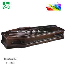 cor mogno com Cruz de madeira para o caixão Europeu