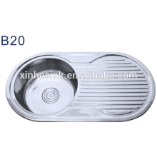 Newest kitchen products of round kitchen sink with drainboard