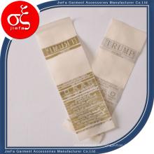 Etiqueta tejida del satén de la moda / etiqueta tejida del cuidado del lavado