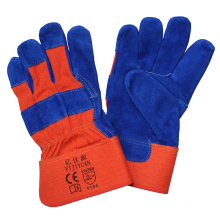 Blue Leather Safety Hand Protective Work Gloves with Ce En388