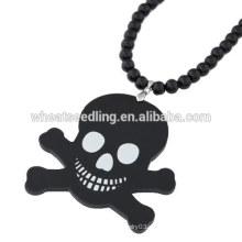 Collar de acrílico del cráneo de la cadena del suéter del cráneo de los granos negros