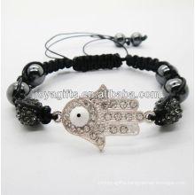 hot sales woven bracelet 2013 Hamsa shamballa woven bracelet with balck crystal