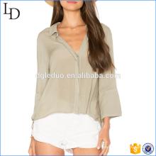 2017 популярные женщины элегантный свободного покроя льняная рубашка с длинным рукавом блузка