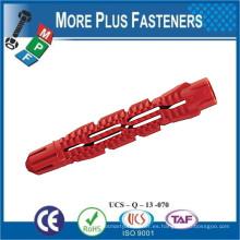 Hecho en Taiwán Universal de plástico acanalado largo cónico de pared Plug anclas