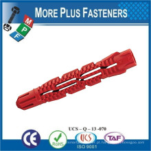 Fabricado em Taiwan Universal Plastic Ribbed Long Conical Wall Plug Anchors