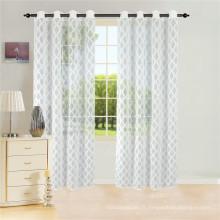 Rideau voile géométrique semi-transparent en polyester