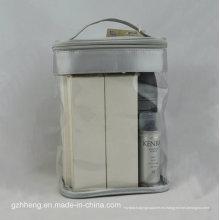 Bolsa de PVC suave personalizada con mango para maquillaje (embalaje de cosméticos)