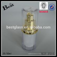 Cosméticos 20 ml 50 ml de lujo de oro bomba de acrílico botella de la loción de doble pared de lujo cuidado de la piel suero botella de plástico de acrílico