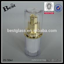 cosmetics 20ml 50ml luxury golden UV pump acrylic lotion bottle double wall fancy skin care cream serum acrylic plastic bottle